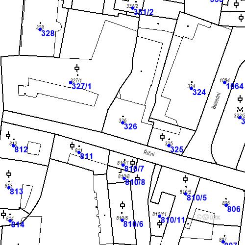 Katastrální mapa Parcela 326 na katastrálním území Malá Strana