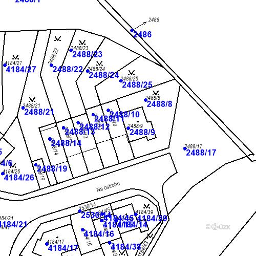 Katastrální mapa Parcela 2488/9 na katastrálním území Dejvice