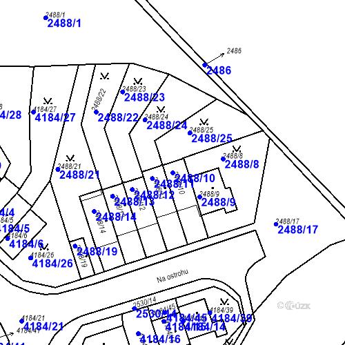 Katastrální mapa Parcela 2488/10 na katastrálním území Dejvice