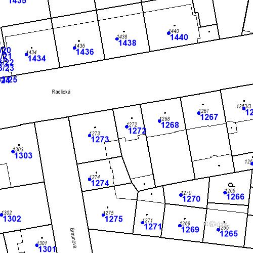 Katastrální mapa Parcela 1272 na katastrálním území Smíchov