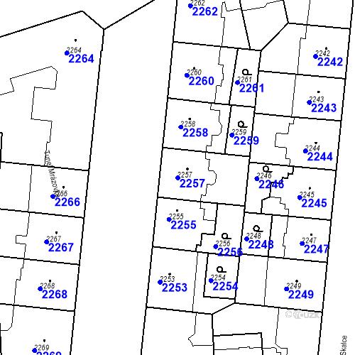Katastrální mapa Parcela 2257 na katastrálním území Smíchov
