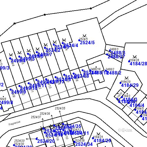 Katastrální mapa Parcela 2524/8 na katastrálním území Dejvice