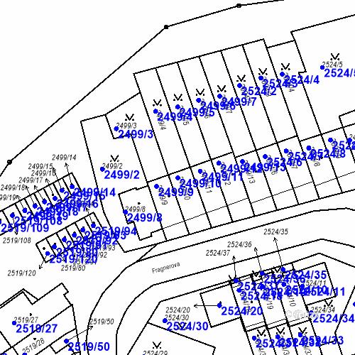 Katastrální mapa Parcela 2499/10 na katastrálním území Dejvice