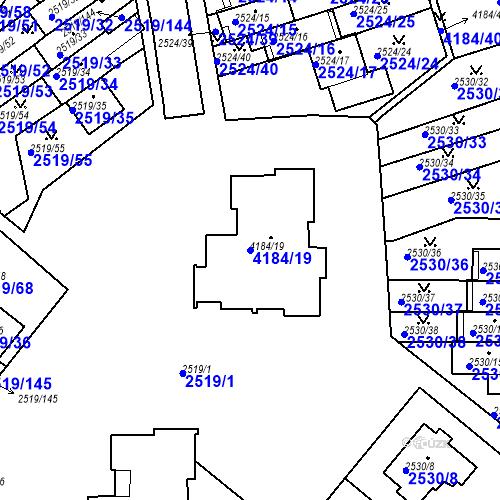 Katastrální mapa Parcela 4184/19 na katastrálním území Dejvice