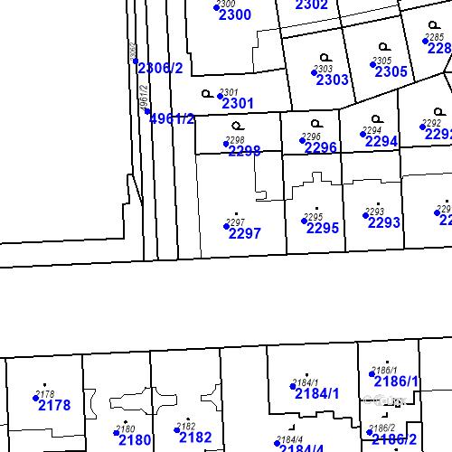 Katastrální mapa Parcela 2297 na katastrálním území Smíchov