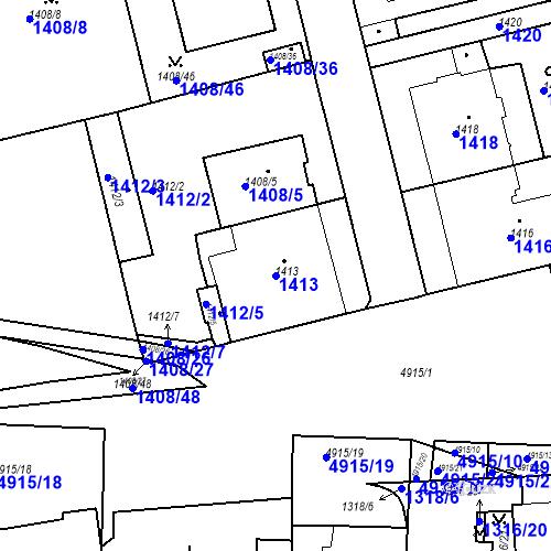 Katastrální mapa Parcela 1413 na katastrálním území Smíchov