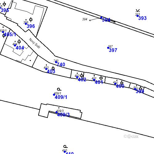 Katastrální mapa Parcela 402 na katastrálním území Hradčany