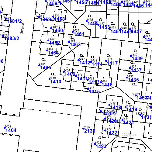 Katastrální mapa Parcela 1411 na katastrálním území Střešovice