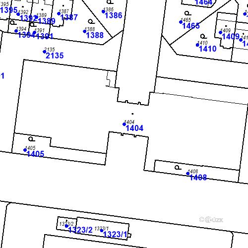 Katastrální mapa Parcela 1404 na katastrálním území Střešovice