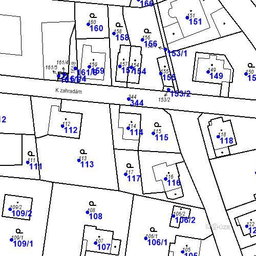 Katastrální mapa Parcela 114 na katastrálním území Lahovice