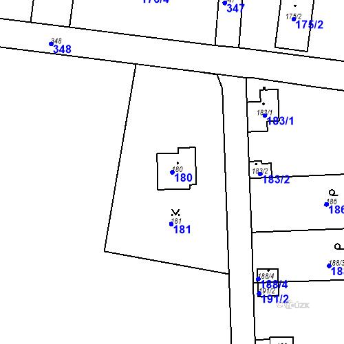 Katastrální mapa Parcela 180 na katastrálním území Lahovice