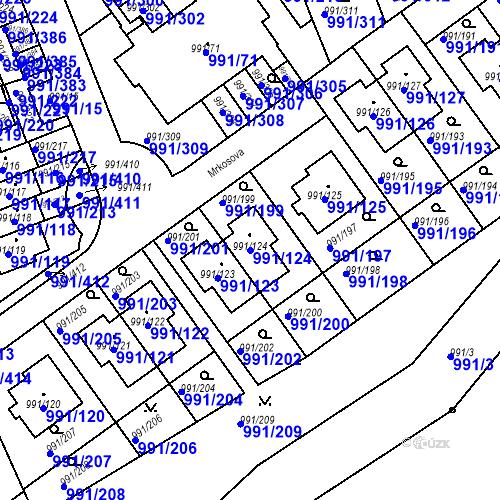 Katastrální mapa Parcela 991/124 na katastrálním území Velká Chuchle