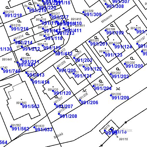 Katastrální mapa Parcela 991/121 na katastrálním území Velká Chuchle