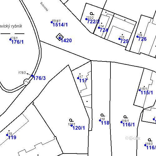 Katastrální mapa Parcela 117 na katastrálním území Jinonice