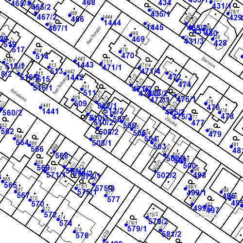 Katastrální mapa Parcela 506 na katastrálním území Jinonice