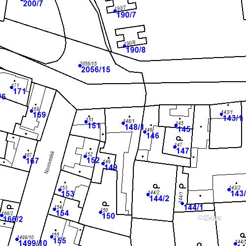 Katastrální mapa Parcela 148/1 na katastrálním území Jinonice
