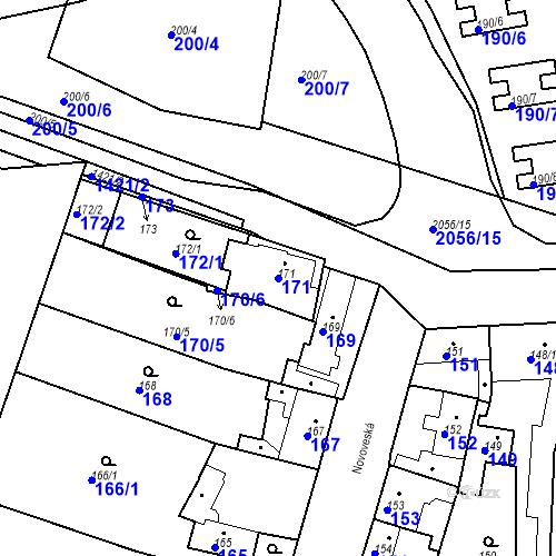 Katastrální mapa Parcela 171 na katastrálním území Jinonice