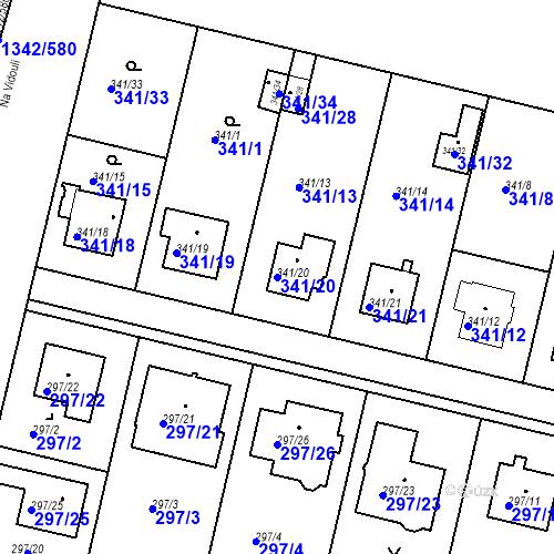Katastrální mapa Parcela 341/20 na katastrálním území Jinonice