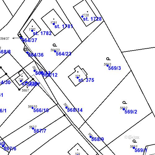 Katastrální mapa Parcela 375 na katastrálním území Vrané nad Vltavou