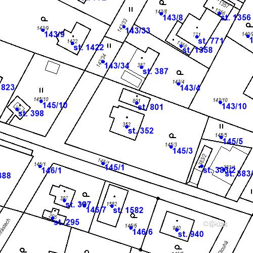 Katastrální mapa Parcela 352 na katastrálním území Vrané nad Vltavou
