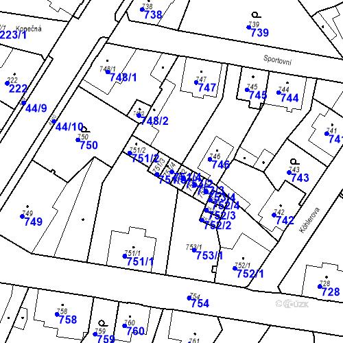 Katastrální mapa Parcela 751/4 na katastrálním území Boletice nad Labem