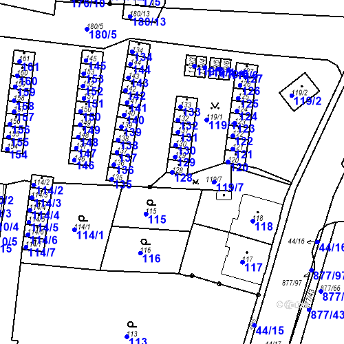 Katastrální mapa Parcela 128 na katastrálním území Boletice nad Labem