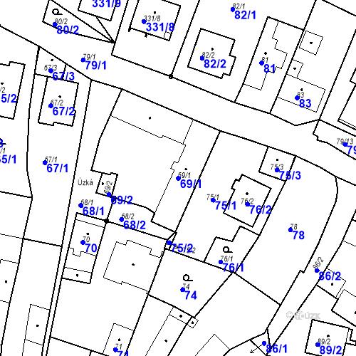 Katastrální mapa Parcela 69/1 na katastrálním území Staré Hodějovice