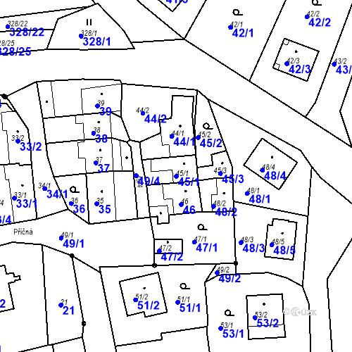 Katastrální mapa Parcela 45/1 na katastrálním území Staré Hodějovice