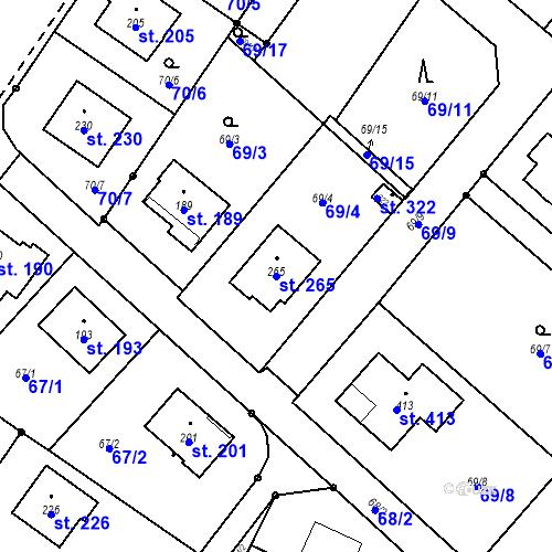 Katastrální mapa Parcela 265 na katastrálním území Borek u Českých Budějovic