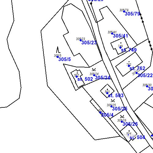 Katastrální mapa Parcela 502 na katastrálním území Černolice
