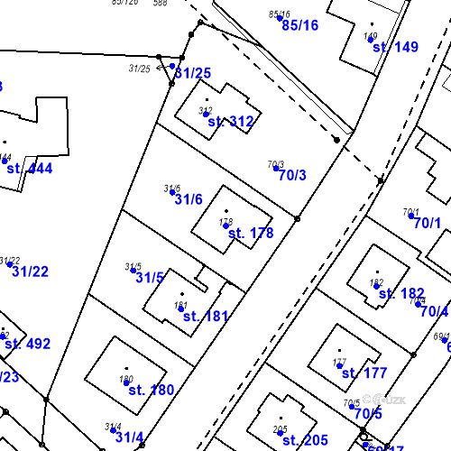 Katastrální mapa Parcela 178 na katastrálním území Borek u Českých Budějovic