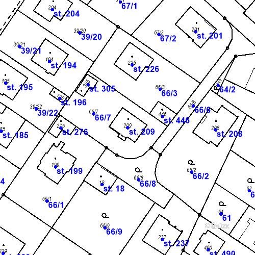 Katastrální mapa Parcela 209 na katastrálním území Borek u Českých Budějovic