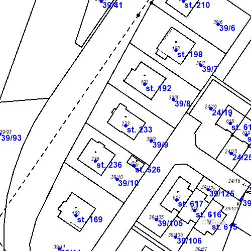 Katastrální mapa Parcela 233 na katastrálním území Borek u Českých Budějovic
