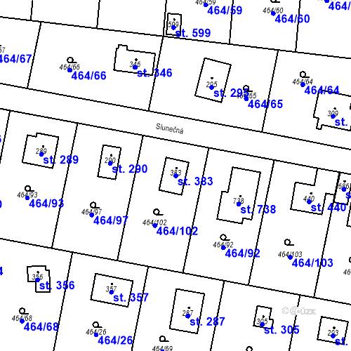 Katastrální mapa Parcela 383 na katastrálním území Třebotov
