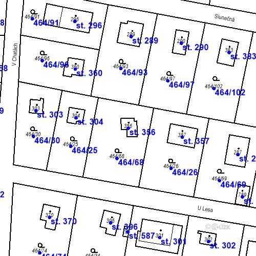Katastrální mapa Parcela 356 na katastrálním území Třebotov