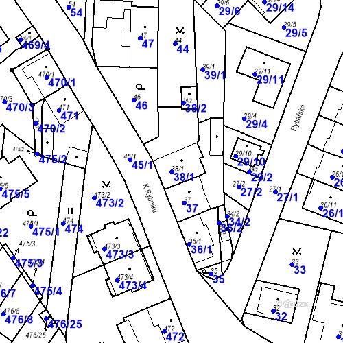 Katastrální mapa Parcela 38/1 na katastrálním území České Budějovice 3