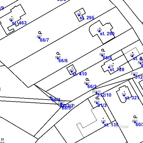 Katastrální mapa Parcela 410 na katastrálním území Černolice