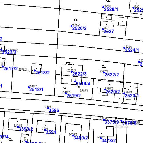 Katastrální mapa Parcela 2522/3 na katastrálním území České Budějovice 6