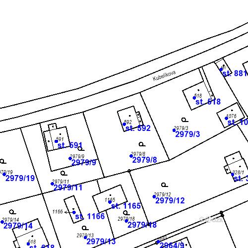 Katastrální mapa Parcela 592 na katastrálním území Jílové u Děčína