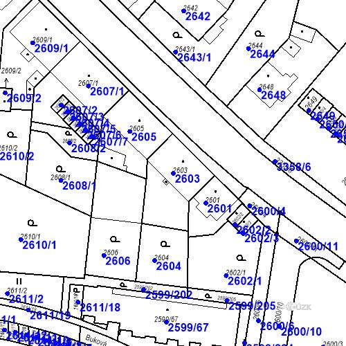 Katastrální mapa Parcela 2603 na katastrálním území České Budějovice 6