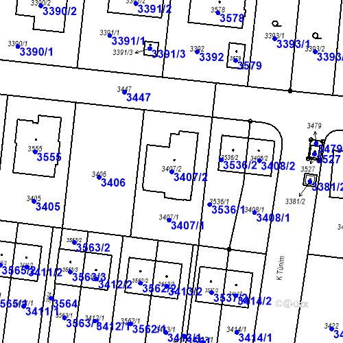 Katastrální mapa Parcela 3407/2 na katastrálním území České Budějovice 6