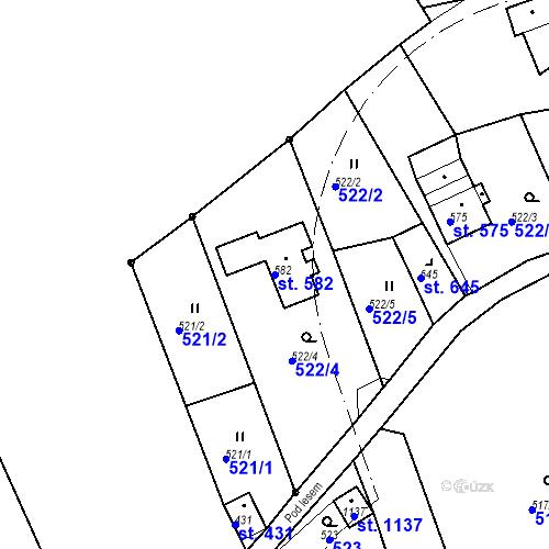 Katastrální mapa Parcela 582 na katastrálním území Jílové u Děčína