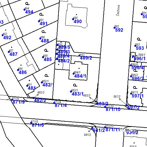 Katastrální mapa Parcela 484/1 na katastrálním území České Budějovice 6