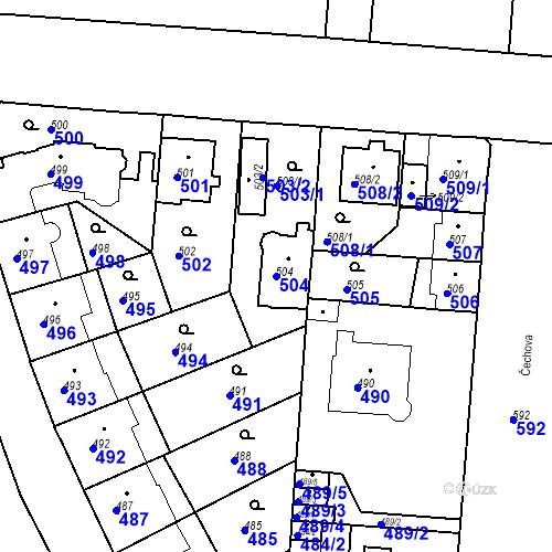 Katastrální mapa Parcela 504 na katastrálním území České Budějovice 6