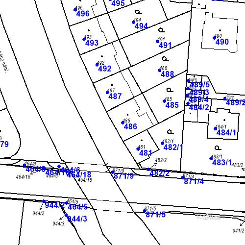 Katastrální mapa Parcela 486 na katastrálním území České Budějovice 6