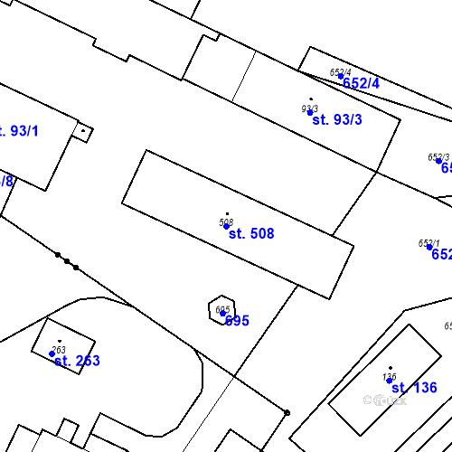 Katastrální mapa Parcela 508 na katastrálním území Bohušovice nad Ohří