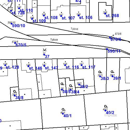 Katastrální mapa Parcela 116 na katastrálním území Bohušovice nad Ohří