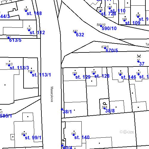 Katastrální mapa Parcela 129 na katastrálním území Bohušovice nad Ohří