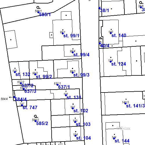Katastrální mapa Parcela 99/3 na katastrálním území Bohušovice nad Ohří