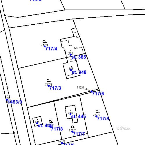 Katastrální mapa Parcela 348 na katastrálním území Bernartice u Milevska